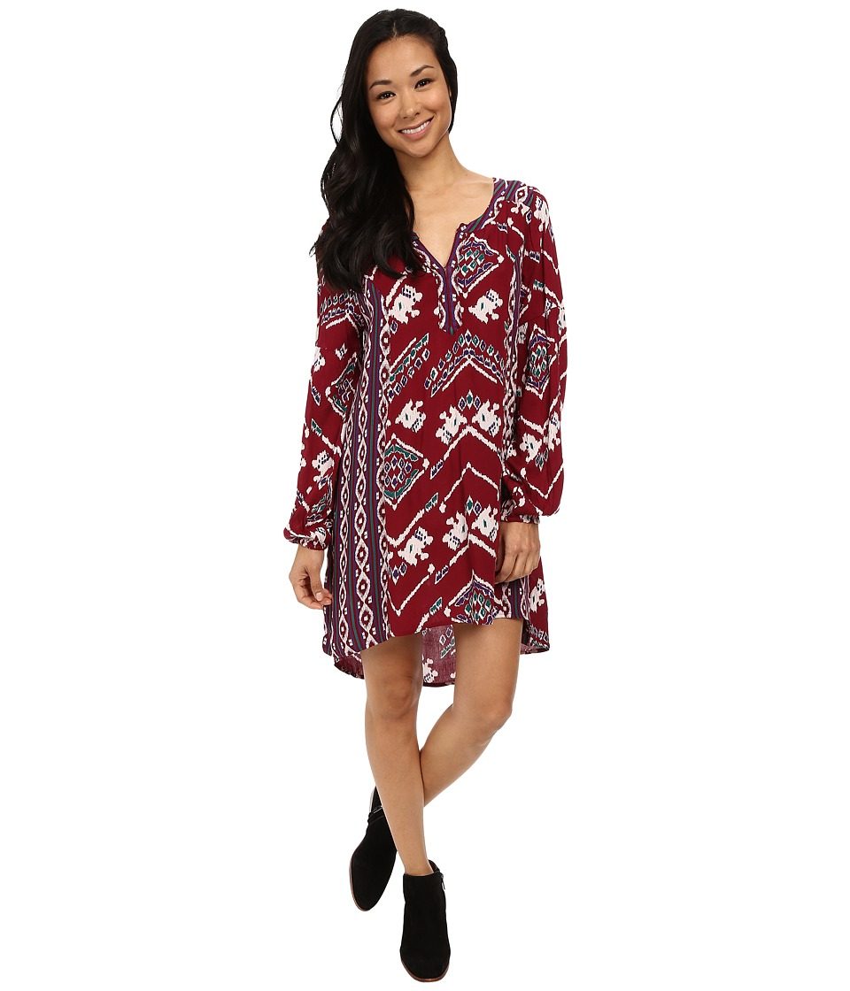 Roxy - Farther Shore Dress (Burgundy Boho Ikat Paisley) Women's Dress
