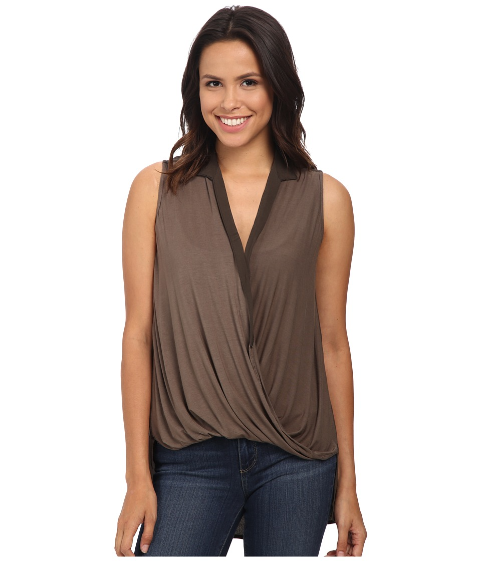 Bobeau - Cross Front Sleeveless Blouse (Olive) Women