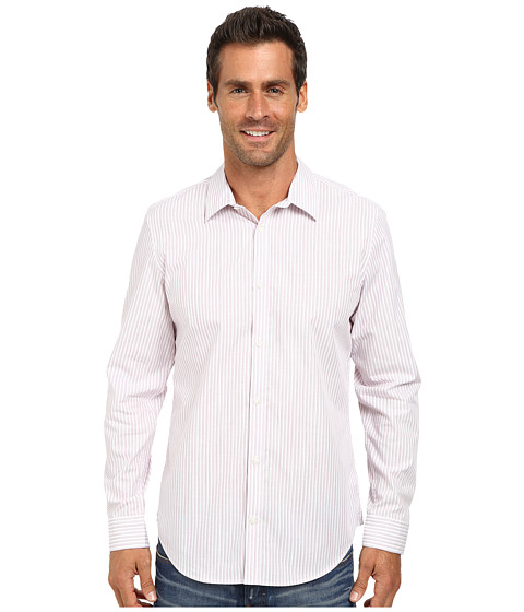 Calvin Klein - Liquid Cotton Engineered Slub Stripe Woven Shirt (White) Men
