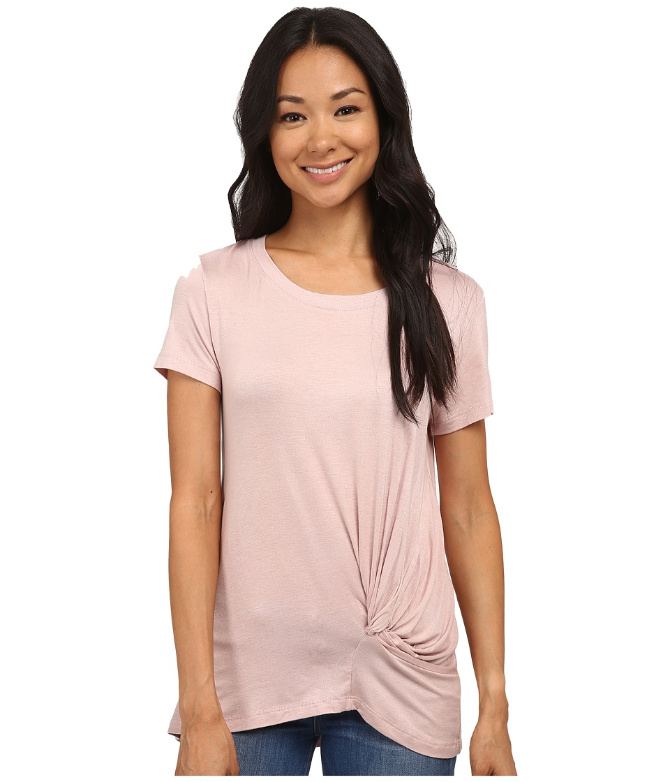 Bobeau - Short Sleeve Knot T-Shirt (Blush) Women
