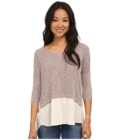 Bobeau - Mixed Media Stripe T-Shirt (Eggplant) Women