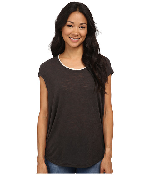 Bobeau - Cap Sleeve T-Shirt w/ Trim (Charcoal Grey) Women