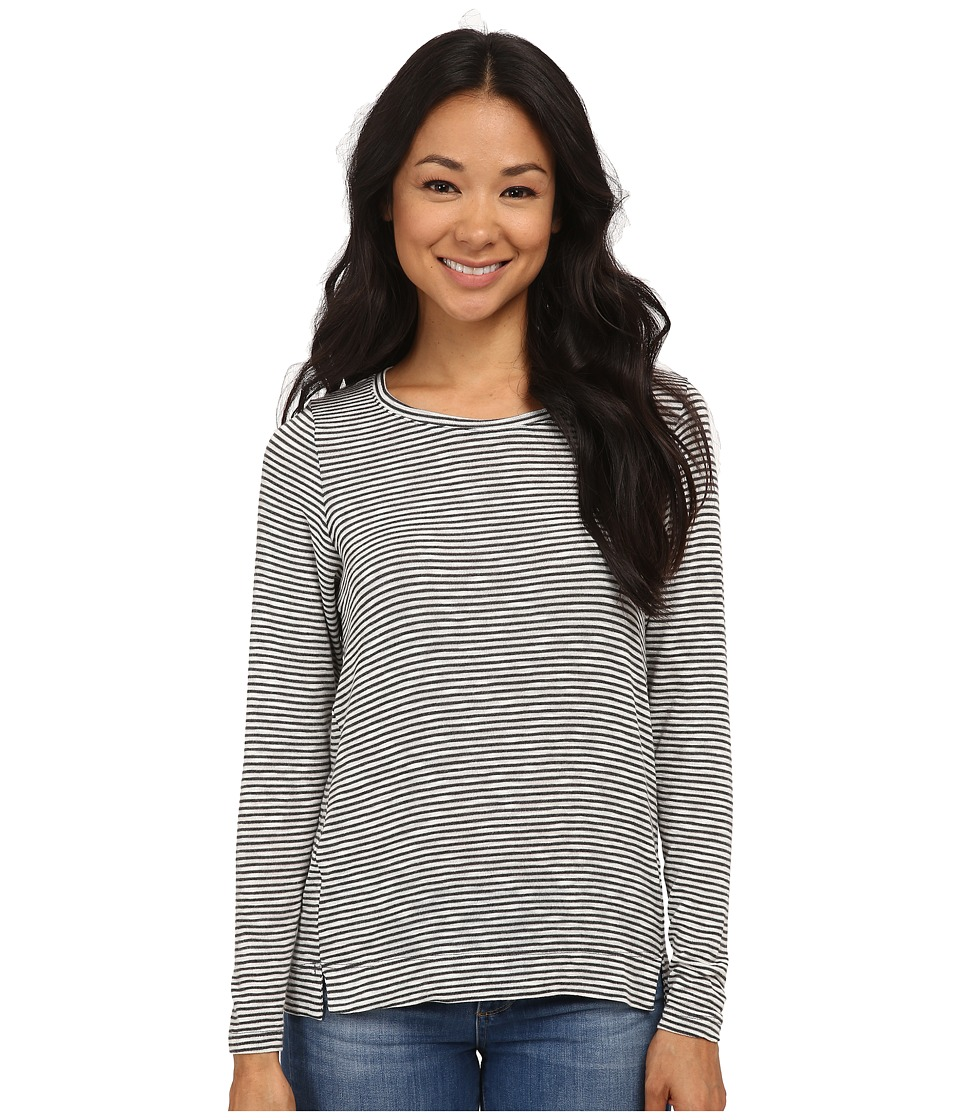Bobeau - Textured Knit Long Sleeve Shirt (Charcoal Grey) Women's T Shirt