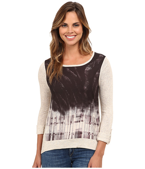 Bobeau - Mixed Print Knit T-Shirt (Oatmeal) Women's T Shirt