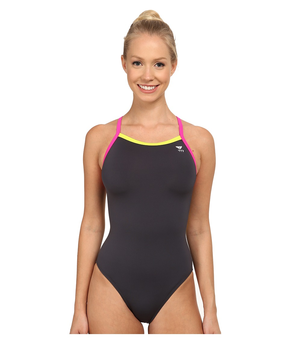 TYR - Solid Brites Diamondfit (Grey/Lime/Pink) Women's Swimsuits One Piece