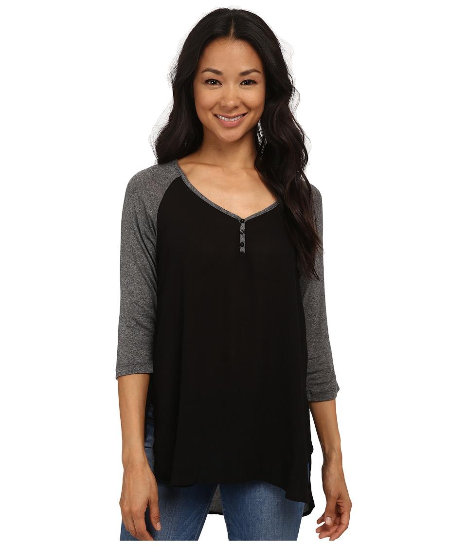 Bobeau - Mixed Henley (Black) Women's Short Sleeve Pullover