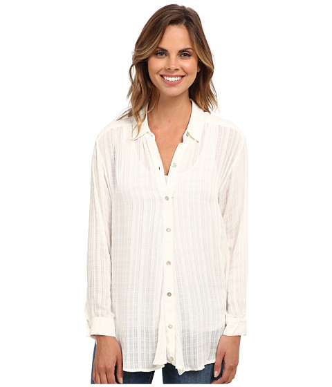 Bobeau - Side Drape Blouse (White Ghost) Women's Blouse