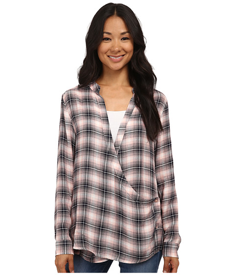 Bobeau - Drape Front Plaid Blouse (Blush Plaid) Women's Blouse