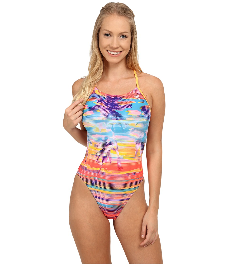 TYR - Laguna Crosscutfit Tie Back (Orange/Multi) Women's Swimsuits One Piece