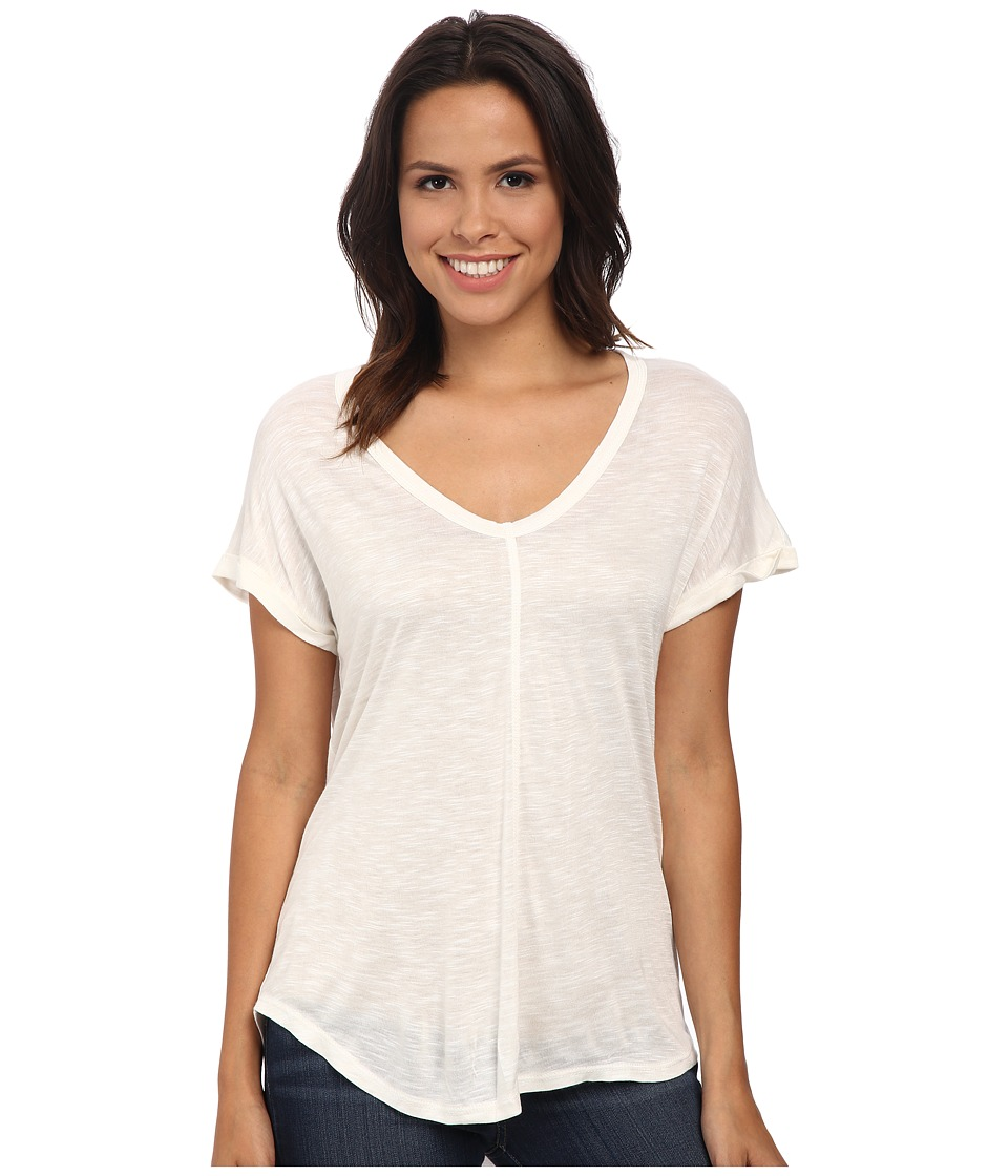 Bobeau - Rolled Sleeve T-Shirt (Off White) Women