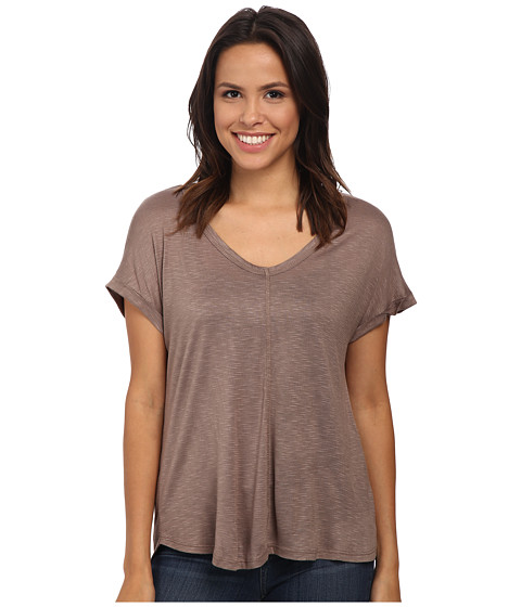 Bobeau - Rolled Sleeve T-Shirt (Taupe) Women