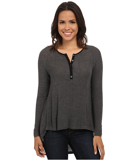 Bobeau - Long Sleeve Henley (Charcoal Grey) Women's Long Sleeve Pullover