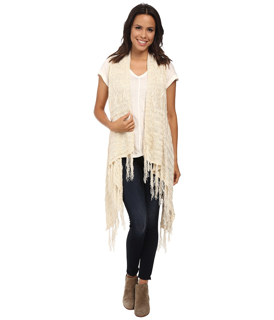 Bobeau - Fringe Sweater Vest (Natural) Women's Vest