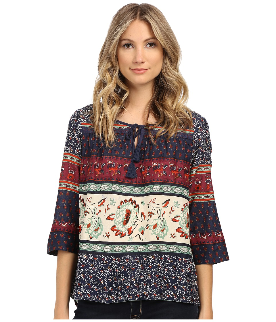 Roxy - Gypsy Breeze Woven Peasant Top (Tiered Paisley Eclipse) Women's Blouse