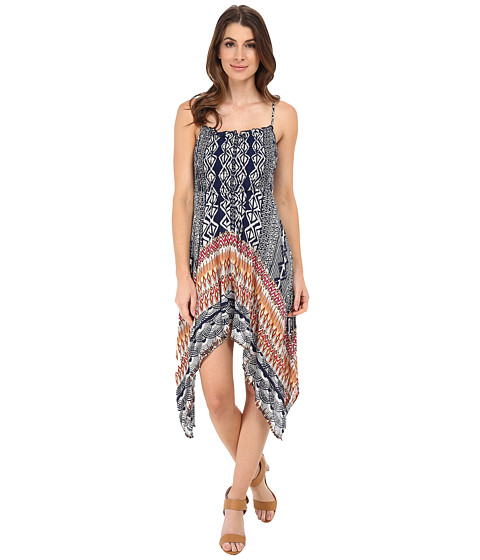 Angie - Strappy Print Boho Dress (Navy) Women's Dress