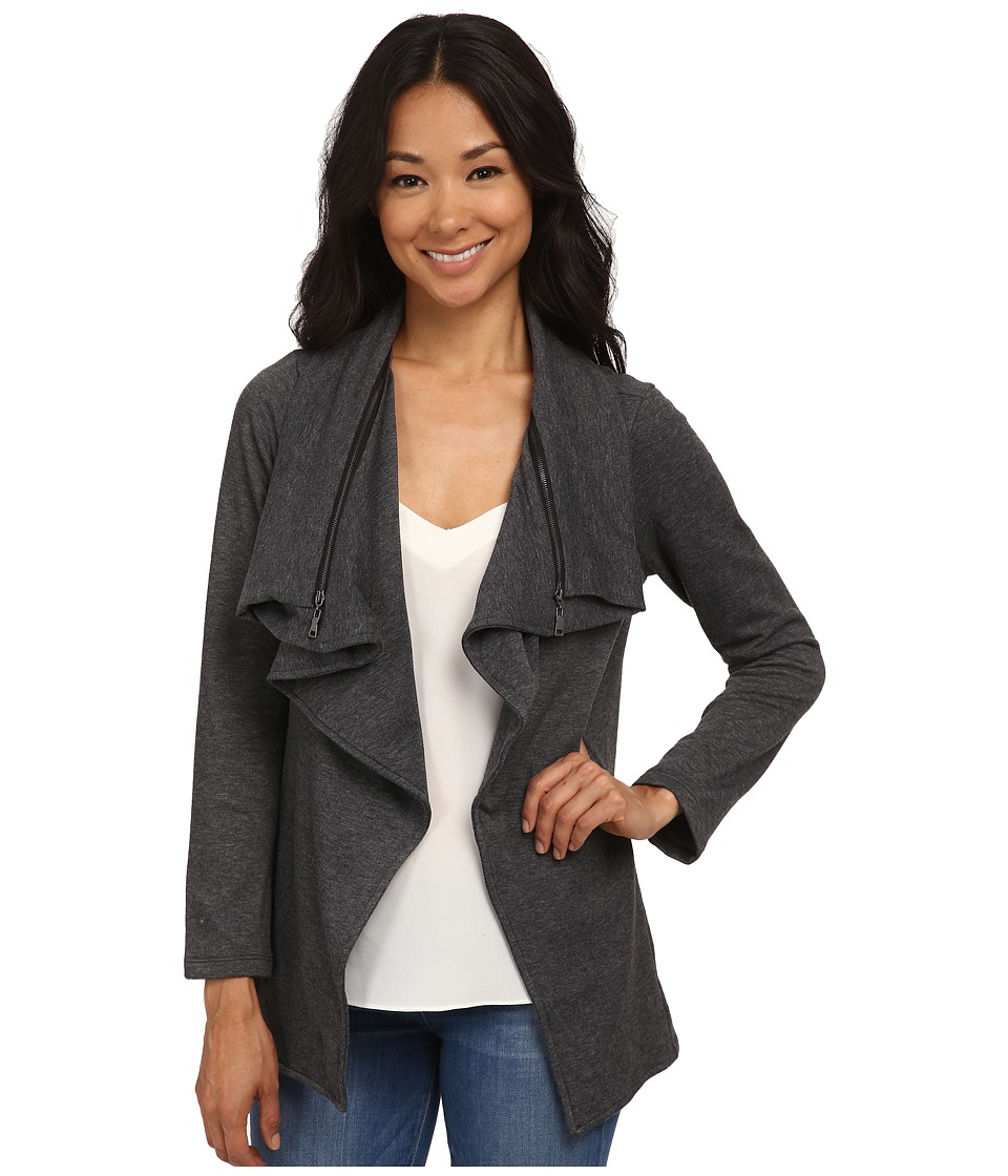 Bobeau - Fleece Waterfall w/ Zipper (Charcoal Grey) Women