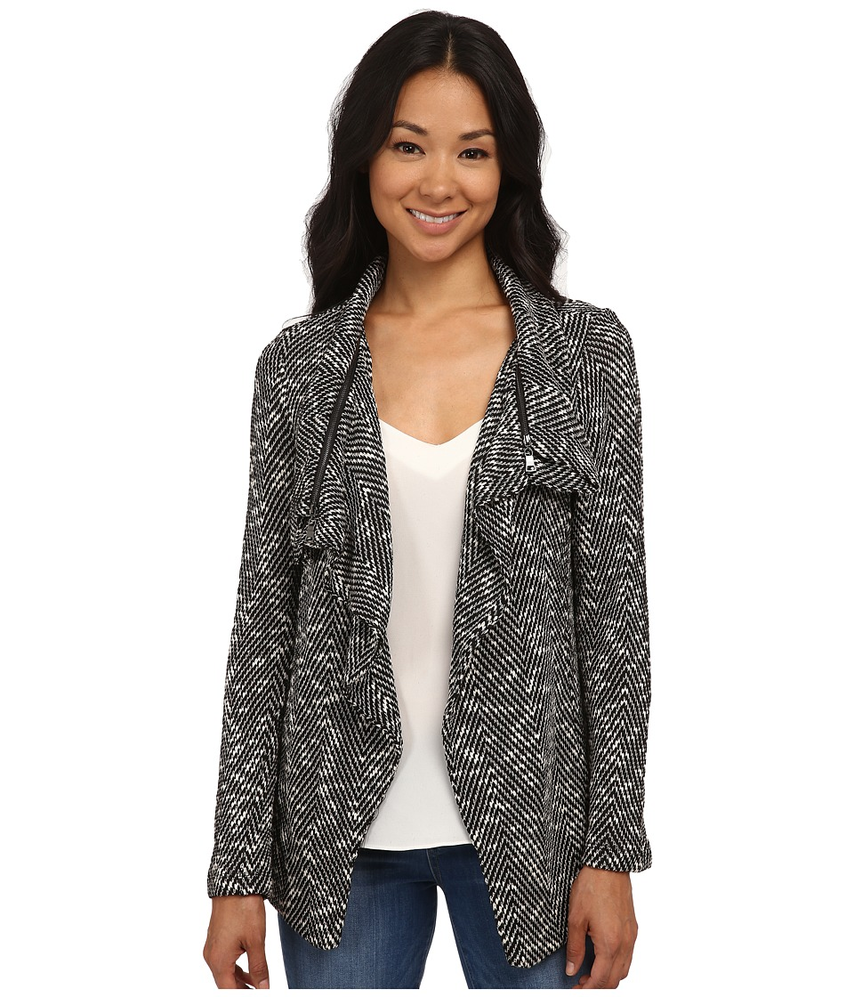 Bobeau - Textured Zip Lapel Jacket (Black Pattern) Women