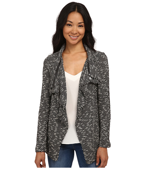 Bobeau - Textured Zip Lapel Jacket (Black Pattern) Women's Jacket