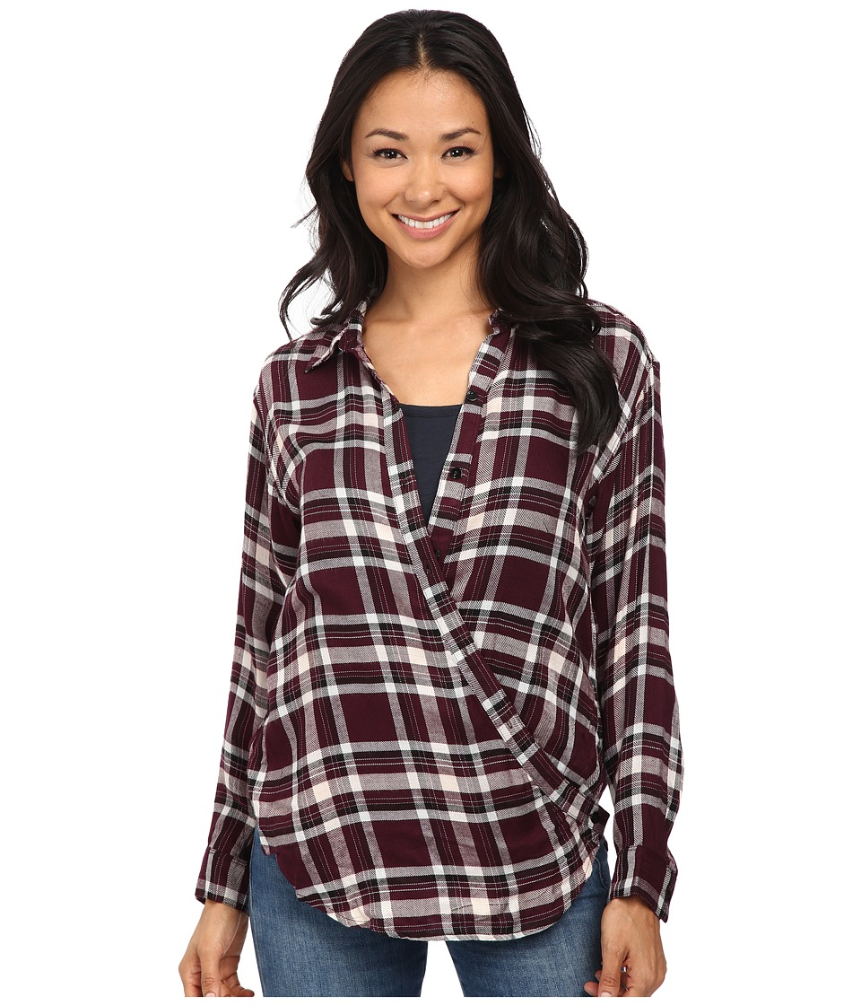 Bobeau - Cross Detail Plaid Blouse (Burgundy) Women