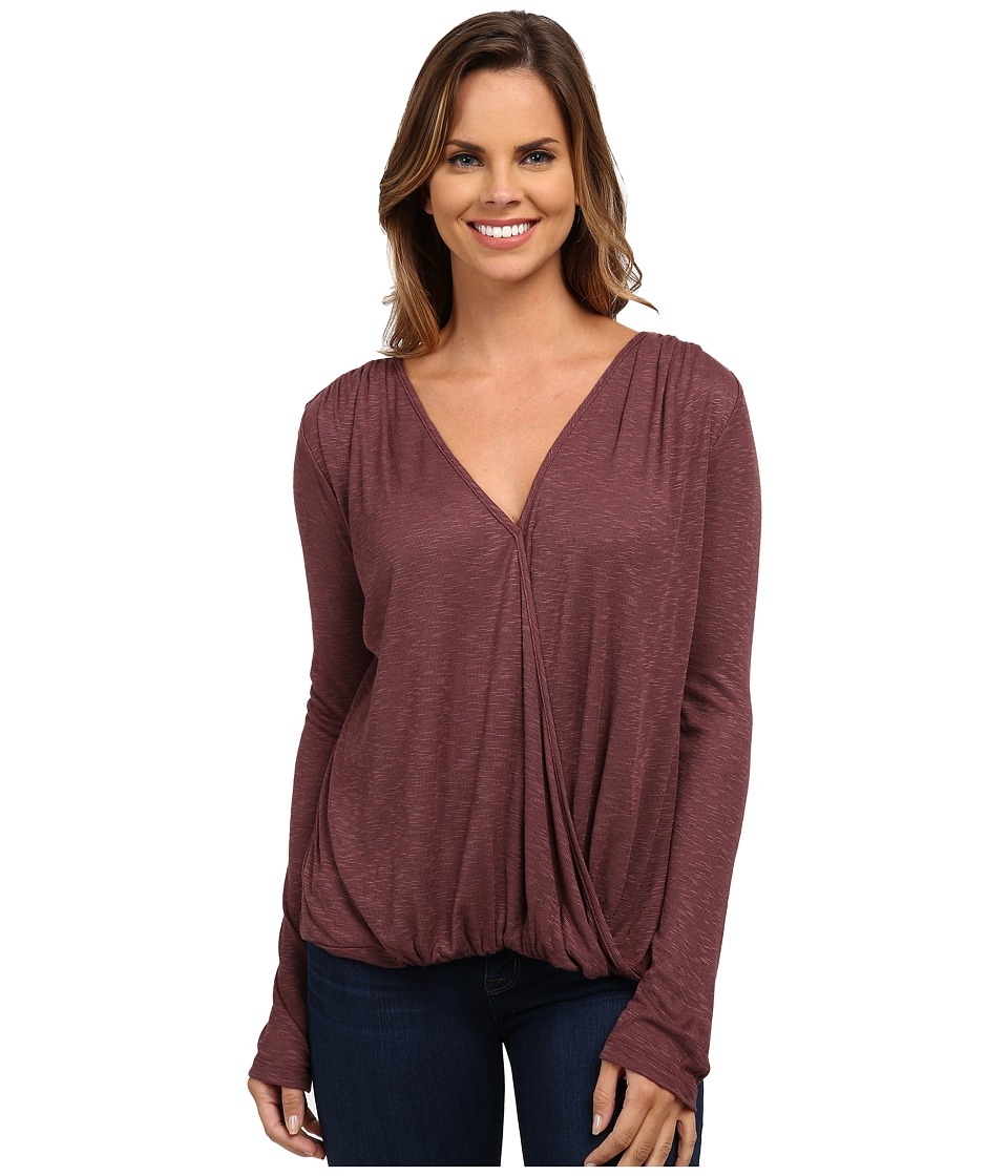 Bobeau - Surplice Top (Burgundy) Women's Short Sleeve Pullover