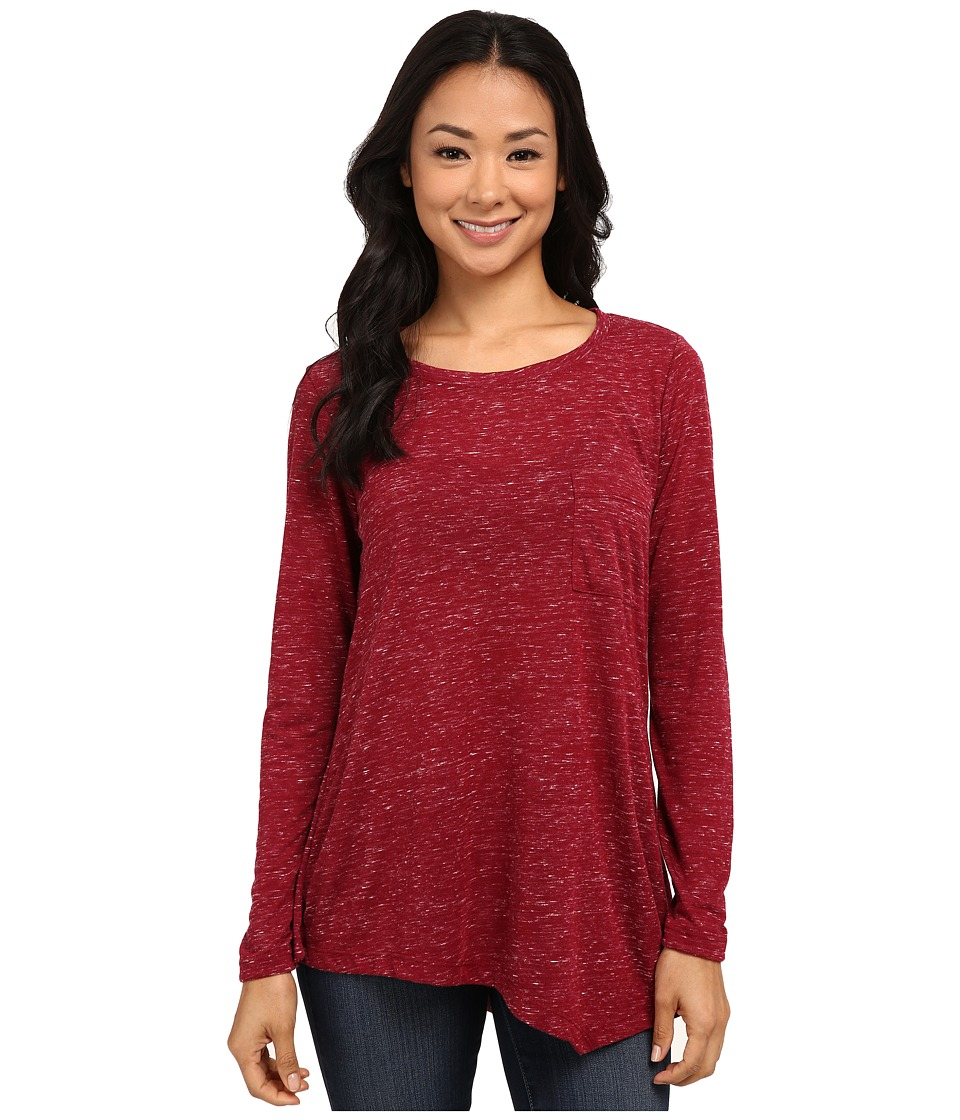 Bobeau - One Pocket Asymmetric T-Shirt (Burgundy) Women