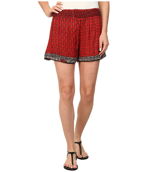 Angie - Print Elastic Waist Shorts (Red) Women