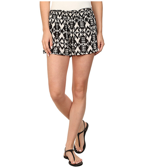 Angie - Print Elastic Waist Shorts (Black) Women's Shorts