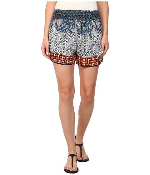 Angie - Print Elastic Waist Shorts (Blue) Women's Shorts