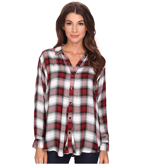 Bobeau - Cross Detail Plaid Blouse (Red) Women's Blouse