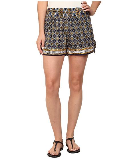 Angie - Print Elastic Waist Shorts (Blue 1) Women