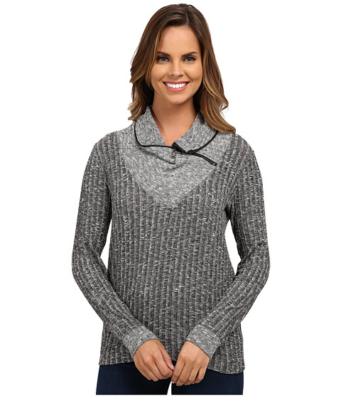 Bobeau - Ribbed Pullover Knit Shirt (Grey) Women's Short Sleeve Pullover