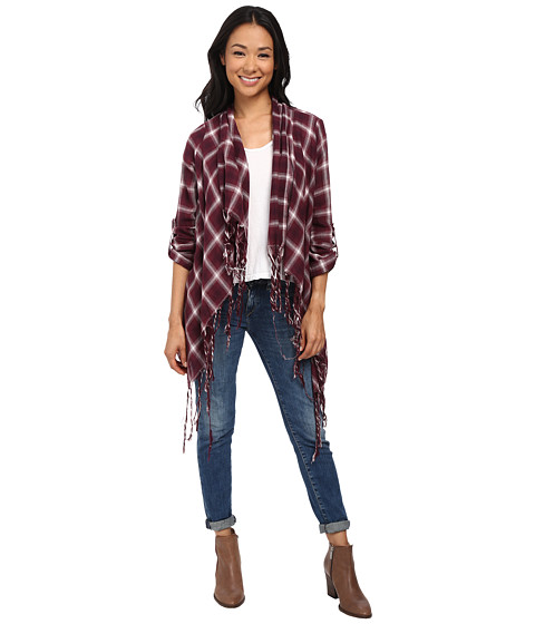 Bobeau - Plaid Third Piece (Burgundy) Women