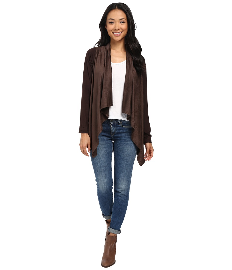 B Collection by Bobeau - Suede Cardigan (Chocolate) Women's Sweater