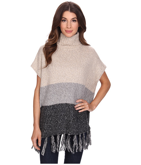 Bobeau - Color Block Fringe Turtleneck (Natural) Women's Sweater