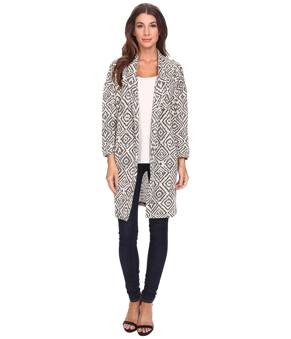 Bobeau - Geo Textured Open Jacket (Grey) Women's Jacket