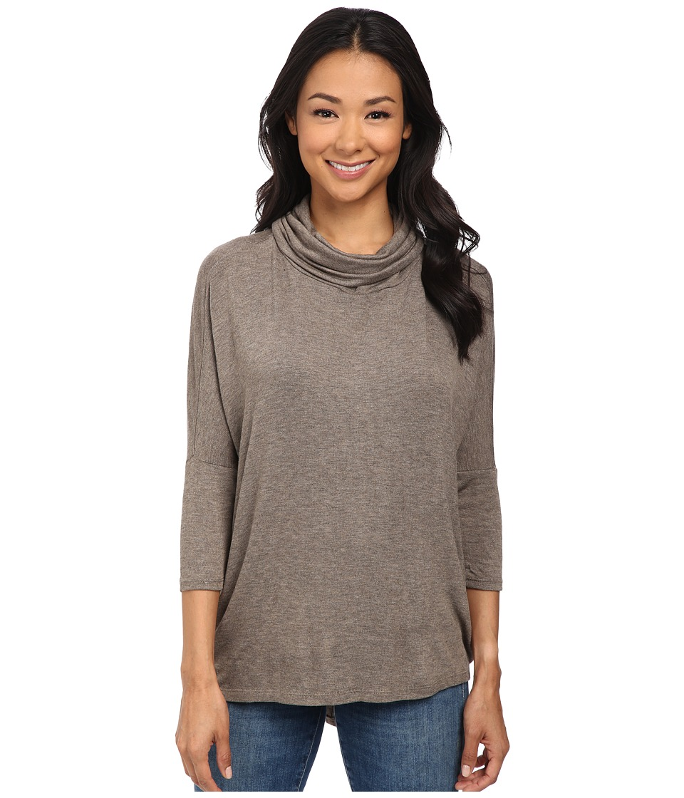 Bobeau - Cowl Neck Knit Top (Taupe) Women's Short Sleeve Pullover