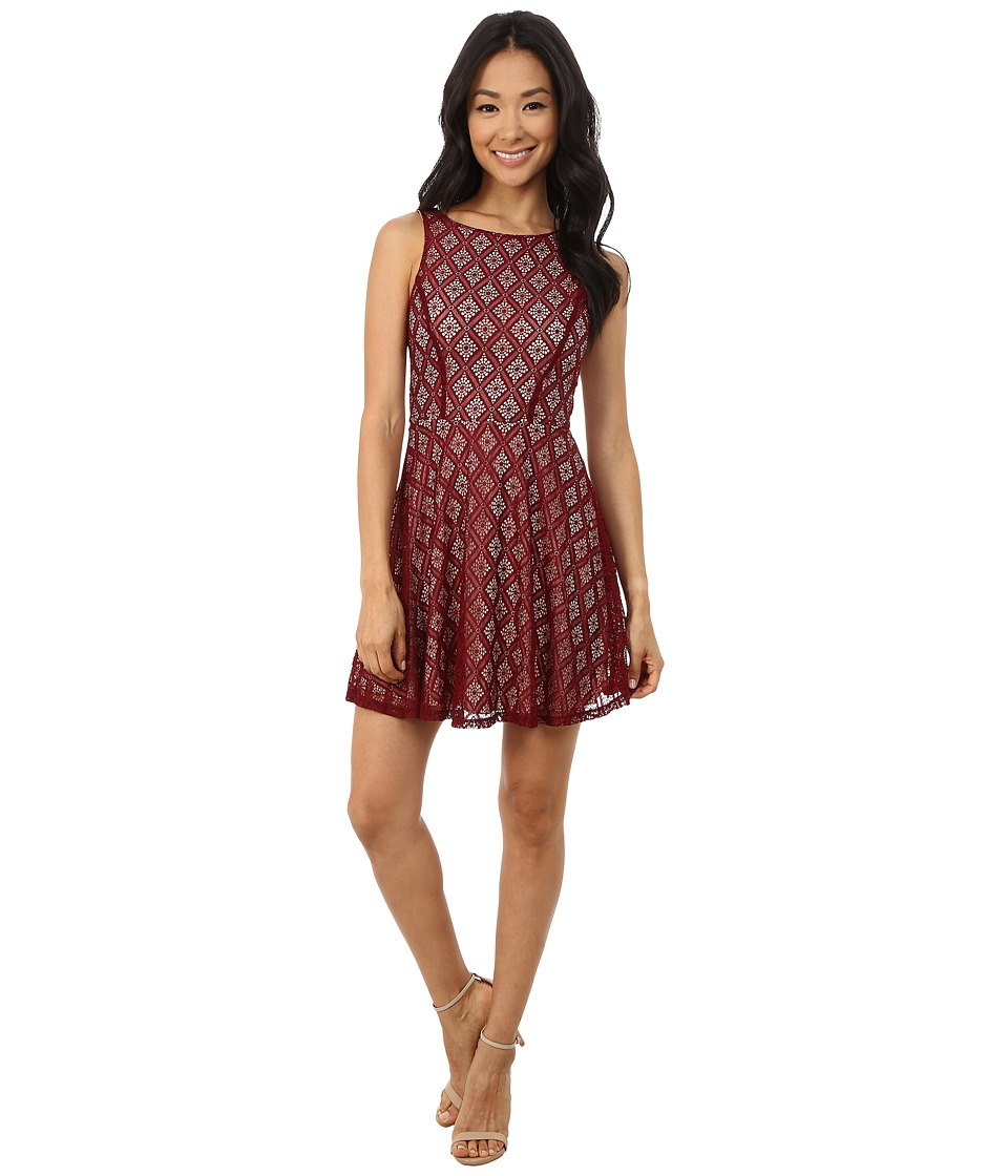 Gabriella Rocha - Sleeveless Diamond Lace Skater Dress (Burgundy) Women's Dress