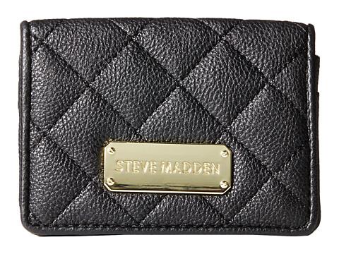 Steve Madden - Quilted Flap Over Card Case (Black) Credit card Wallet