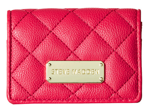 Steve Madden - Quilted Flap Over Card Case (Pink) Credit card Wallet