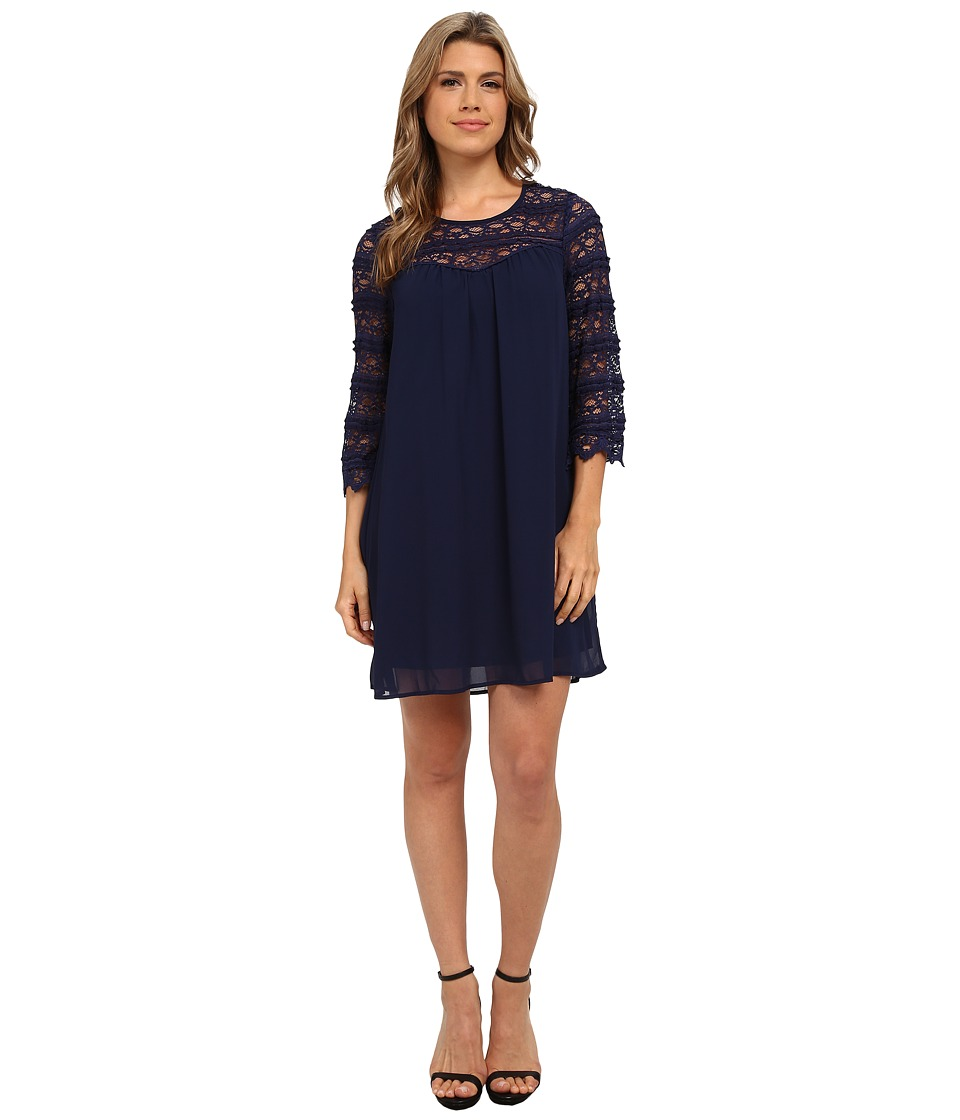 Brigitte Bailey - 3/4 Sleeve Lace Illusions Shift Dress (Navy) Women