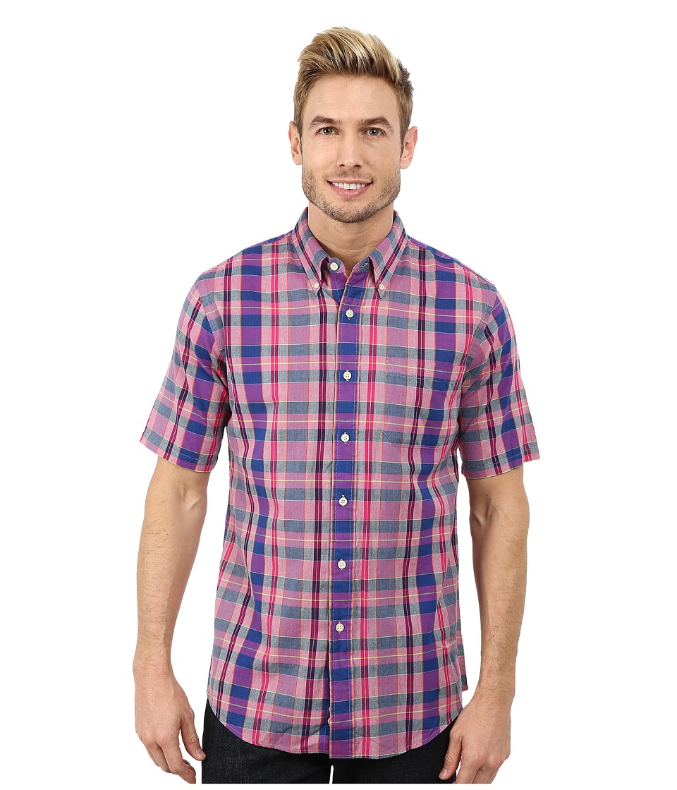 Pendleton - Short Sleeve Fitted Seaside Button Down Shirt (Purple/Navy/Cherry Plaid) Men's Short Sleeve Button Up