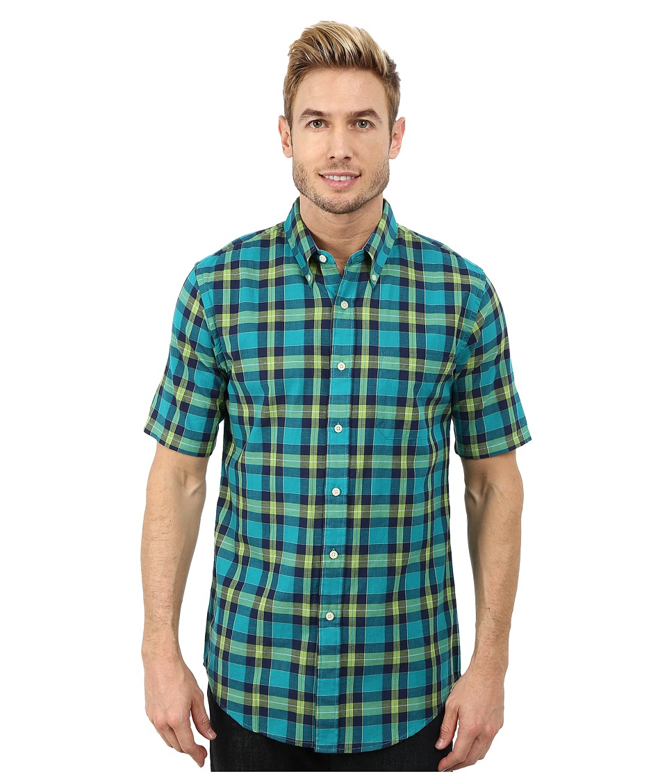 Pendleton - Short Sleeve Fitted Seaside Button Down Shirt (Bright Green/Turquoise/Navy Plaid) Men