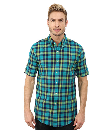Pendleton - Short Sleeve Fitted Seaside Button Down Shirt (Bright Green/Turquoise/Navy Plaid) Men's Short Sleeve Button Up