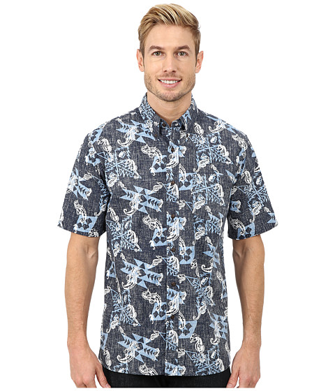 Pendleton - Short Sleeve Printed Button Down Camp Shirt (Navy Seahorse Print) Men
