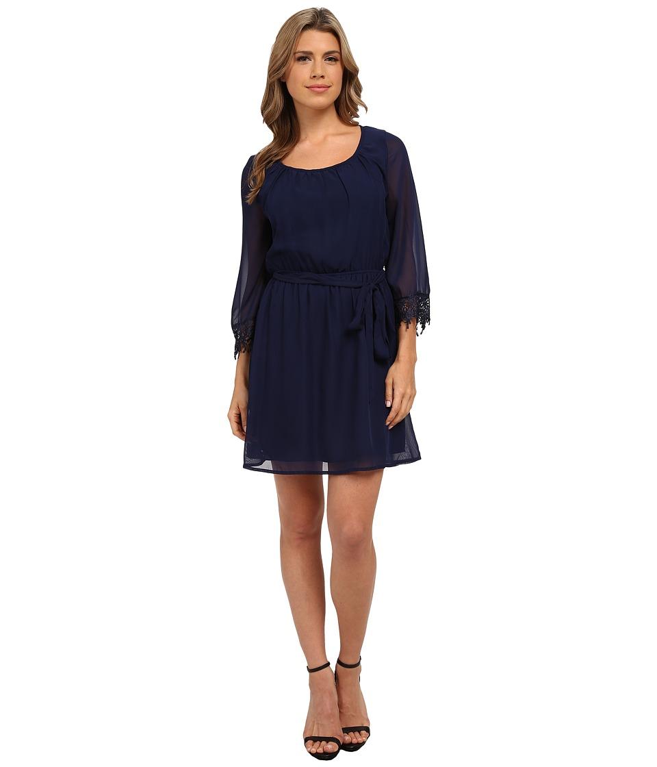 Brigitte Bailey 3/4 Sleeve Blouson Dress (Dark Blue) Women