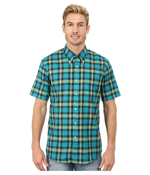 Pendleton - Short Sleeve Seaside Button Down Shirt (Bright Green/Turquoise/Navy Plaid) Men's Short Sleeve Button Up