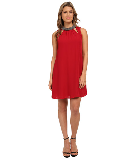 Brigitte Bailey - Shift Dress with Mock Neck and Cut Out Front Key Holes (Burgundy) Women