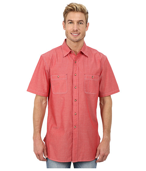Pendleton - Short Sleeve Berkeley Shirt (Salmonberry) Men's Clothing