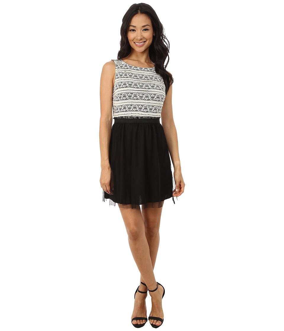 Gabriella Rocha Sleeveless Dress with Paperbag Mesh Skirt (Ivory/Black) Women