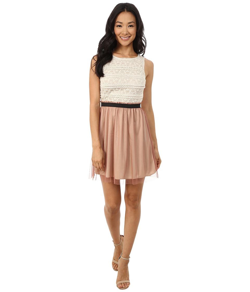 Gabriella Rocha - Sleeveless Dress with Paperbag Mesh Skirt (Ivory/Rose) Women's Dress